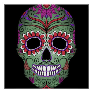 Colorful Day of the Dead Grunge Sugar Skull Poster