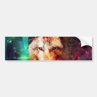Colorfulface wolf bumper sticker