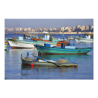Colorful fishing boats in the Harbor of Photo Art