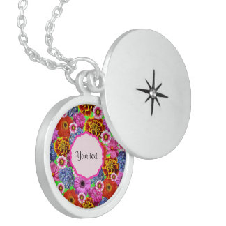 Colorful Flowers Round Locket Necklace