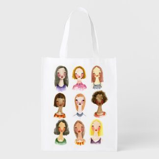 Colorful Girls Grocery Bag