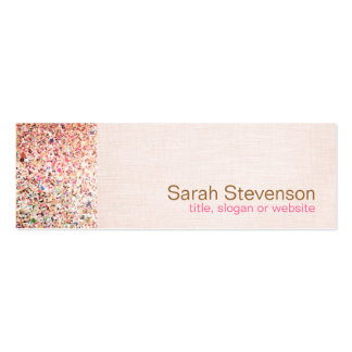 Colorful Glitter and Light Pink Linen Look Beauty Pack Of Skinny Business Cards