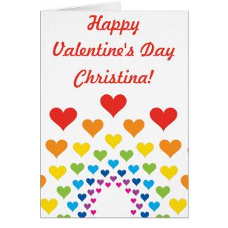 Colorful Hearts Happy Valentine's Day Custom Name Greeting Card