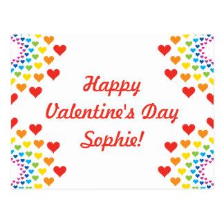 Colorful Hearts Happy Valentine's Day Custom Name Postcard