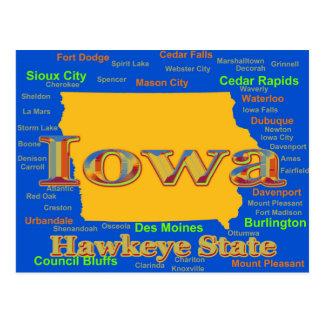 Colorful Iowa State Pride Map Silhouette Postcard