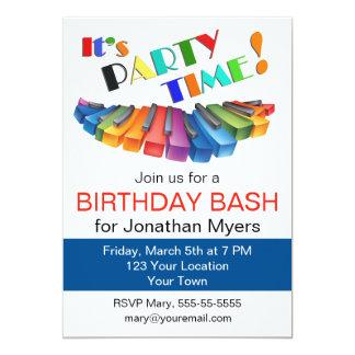 Colorful Keyboard Birthday Party 13 Cm X 18 Cm Invitation Card