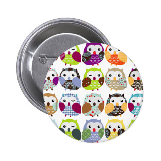 Colorful Owl Pattern 6 Cm Round Badge