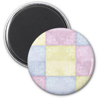 Colorful Pastels Patchwork 6 Cm Round Magnet