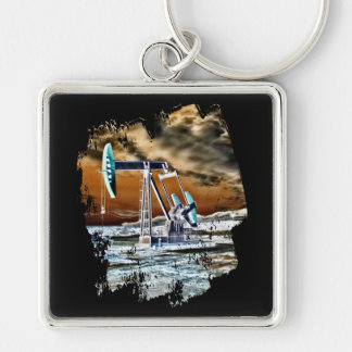 Colorful Pumping Unit Design Silver-Colored Square Key Ring