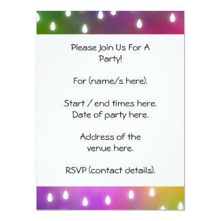 Colorful Rainbow Clouds with White Raindrops. 17 Cm X 22 Cm Invitation Card