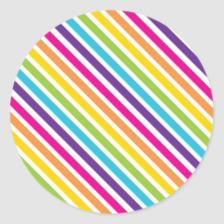 Colorful Rainbow Diagonal Stripes Gifts for Teens Round Sticker