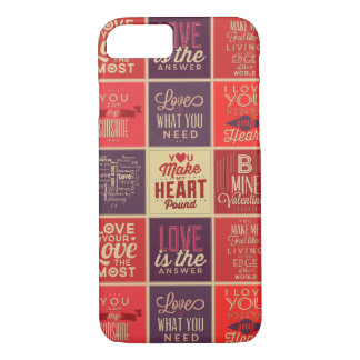 Colorful Retro Love Quotes Quilt Pattern iPhone 7 Case