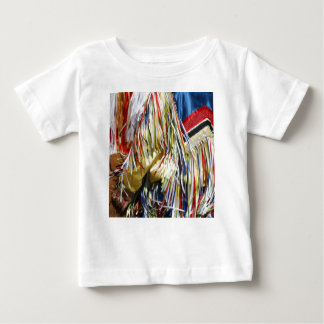 Colorful shimmer fringe close up tee shirts