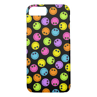 Colorful Smiley Faces on Black iPhone 7 Case