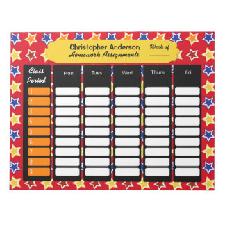 Colorful Stars Homework Assignment Notepad