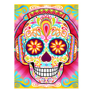 Colorful Sugar Skull Day of the Dead Postcard