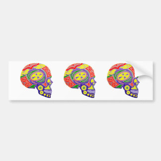 Colorful Sugar Skull Skeleton Bumper Sticker