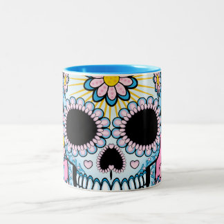 Colorful Sugar Skull Two-Tone Mug
