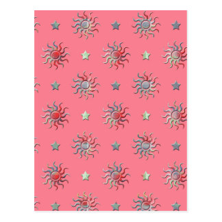 Colorful sun and stars design postcard