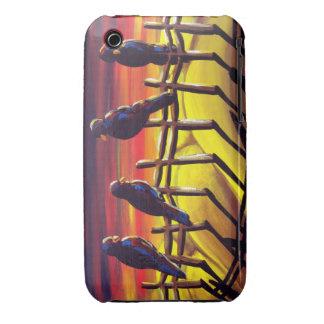 Colorful Sunset Crows Ravens Folk Art iPhone Case