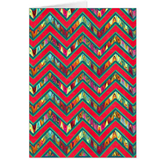 Colorful Trendy Psychedelic Zig Zag Greeting Card