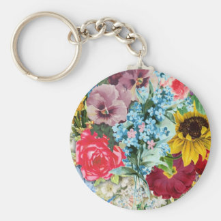Colorful Vintage Floral Basic Round Button Key Ring