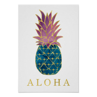Colorful Watercolor Pineapple and Gold Aloha Poster