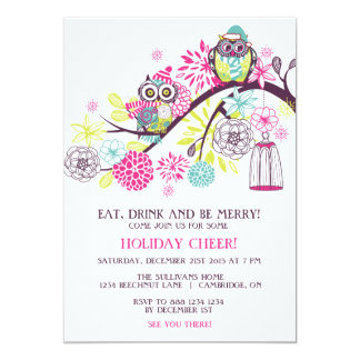 Colorful Winter Owls Christmas Party Invitation