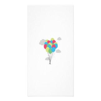 Colourful balloons custom photo card