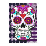 Colourful floral sugar skull gallery wrap canvas