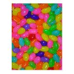 Colourful jellybean candy postcard