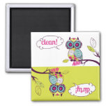 Colourful Quirky Owl Clean Dirty Dishwasher Magnet