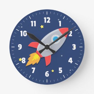 Colourful Rocket Ship, Outer Space, For Kids Room Wallclocks