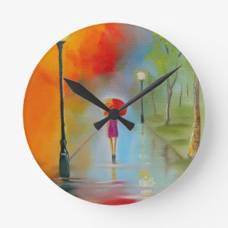 Colourful woman with a red umbrella clocks