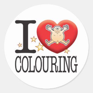 Colouring Love Man Round Sticker