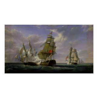 Combat between the French Frigate 'La Canonniere' Poster