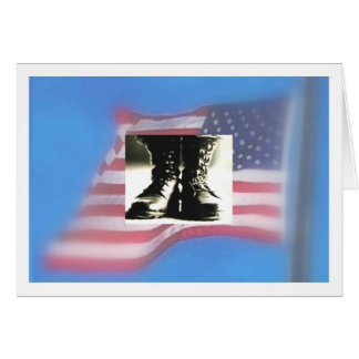 Combat boots, US Flag, Military Graduation Greeting Card