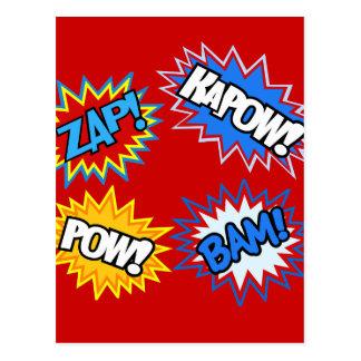 Comic Book Pow! Bursts Postcard