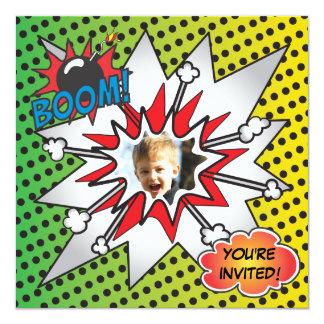 Comic Book Superhero Birthday Party Photo Card 13 Cm X 13 Cm Square Invitation Card