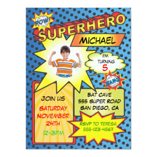 Comic Book Superhero Photo Insert Birthday Party 17 Cm X 22 Cm Invitation Card