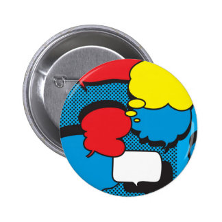 Comic Book Thought Bubbles 6 Cm Round Badge