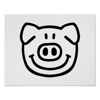 Comic pig face poster