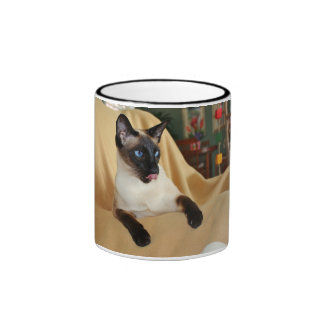 Comical Seal Point Siamese Cat Licking It's Nose Ringer Mug