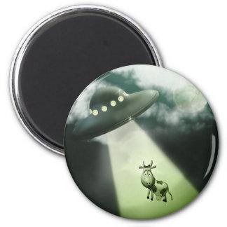 Comical UFO Cow Abduction Magnet