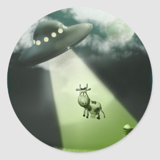 Comical UFO Cow Abduction Sticker