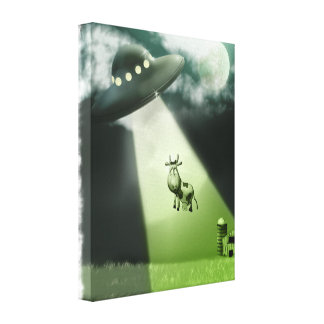 Comical UFO Cow Abduction  Stretched Canvas Print