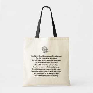 Commandments for the Knitter's Spouse Budget Tote Bag