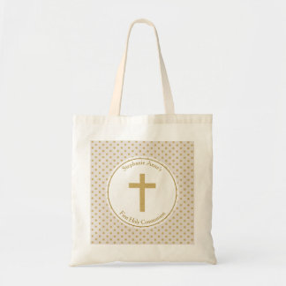 Communion Beige with Gold Polka Dots Budget Tote Bag