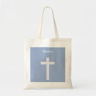 Communion Blue Vines and Stripes Budget Tote Bag