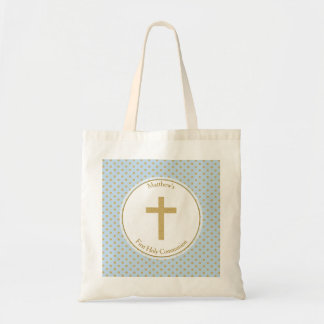 Communion Blue with Gold Polka Dots Budget Tote Bag